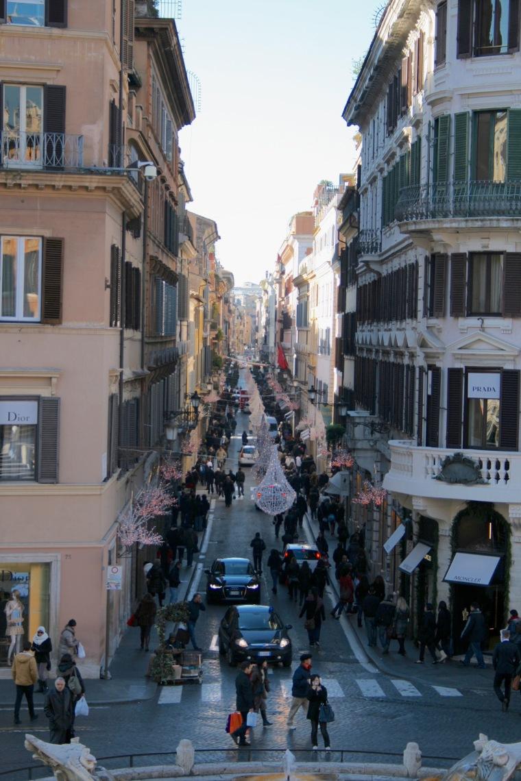 Via dei condotti view from the Spanish Steps
