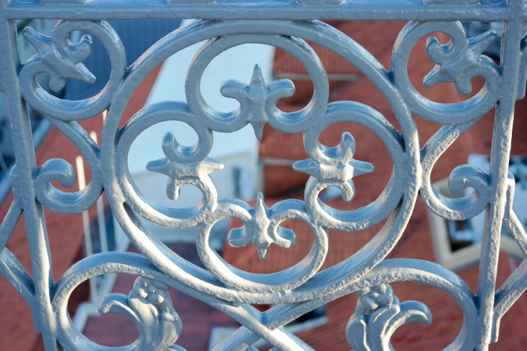 Close up of the cast iron filigree on the Santa Justa Lift Platform