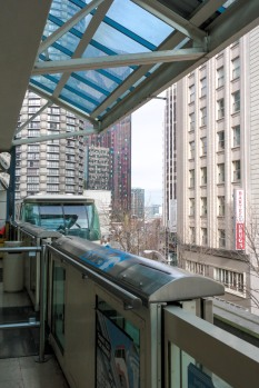 The monorail arriving at Westlake Station